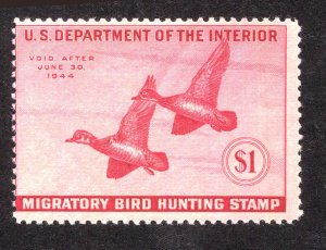 US Duck Stamp # RW10 1943 $1 Deep Rose Mint Never Hinged Full Gum