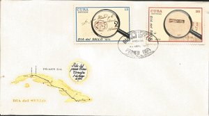 J) 1973 CARIBE, MAP, SEAL DAY, MAGNIFYING GLASS, MULTIPLE STAMPS, FDC