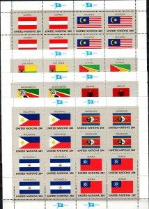 United Nations #374-89 MNH Flag Sheets CV $16.00  (X2291L)