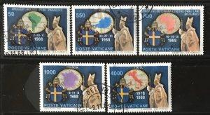 Vatican #845-849 U CV$6 Pope John Paul II Travels/Maps
