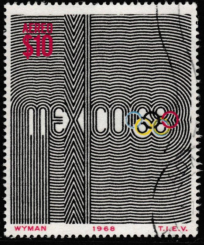 MEXICO C344, $10Pesos 1968 Olympics, Mexico City USED. F-VF. (1239)