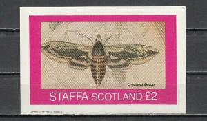 Staffa, Scotland Local. 1982 issue. Checkered Skipper Moth s/sheet. ^