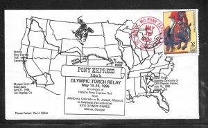 Just Fun Cover #3068S Pony Express Rides Olympic Torch relay MAY/13/96 (my4709)