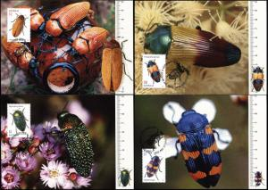 Australia. 2016. Jewel Beetles (Mint) Set of 4 Maxi Cards