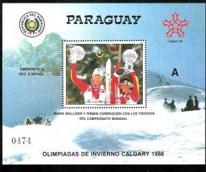 PARAGUAY 1987 SPORT OLYMPIC CALGARY S/S SPECIMEN MUESTRA Mi BL 441 Yv 387 MNH