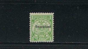 SWAZILAND SCOTT #5 1889 ONE SHILLING (BLACK OVERPRINT) -MINT EXTRA  LIGHT HINGED