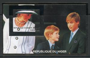 NIGER  1997 PRINCESS DIANA WITH WILLIAM &  HARRY SILVER FOIL IMPERF S/S  MINT NH