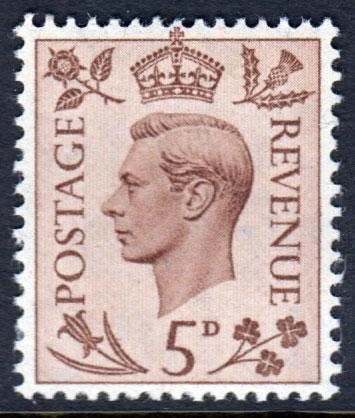 GB KGVI 1937 5d Brown SG469 Mint Lightly Hinged