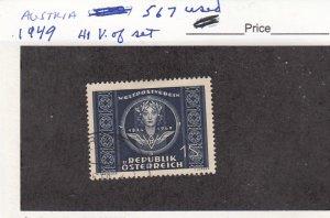J26049  jlstamps 1949 austria hv of set used #567 upu , all checked