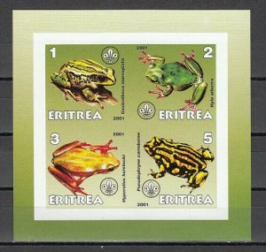 Eritrea, 2001 Cinderella issue. Frogs IMPERF sheet of 4. *