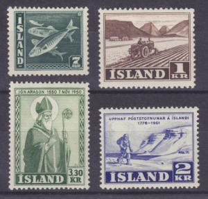Iceland Sc 220, 264, 270, 271, MLH. 1939-51 issues, 4 different singles, F-VF