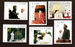 Zaire 1013-1018 Mint NH Pope Paul!