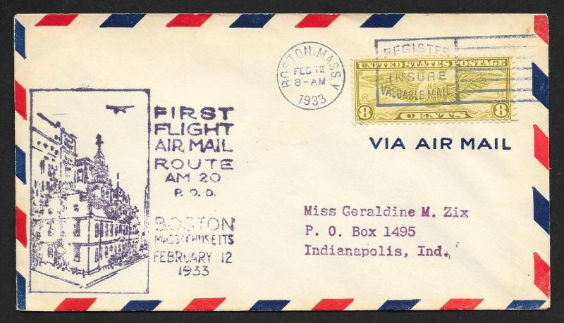 UNITED STATES First Flight Cover 1933 Boston