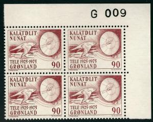 Beautiful Greenland #100 Plate Block 009 MNH VF...Kalaallit is Hot now!