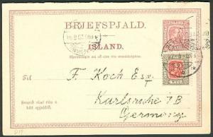 ICELAND Double Card #21 8aur+8aur + 4aur to GERMANY