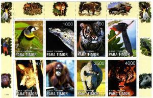 Para Timor Various Animals Sheet (8) Perforated mnh.vf