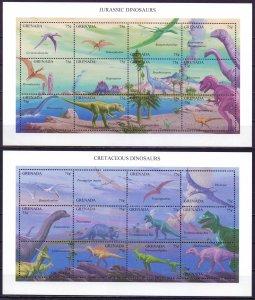 Grenada. 1994. 2738-41, bl365.366. Dinosaurs. MNH.