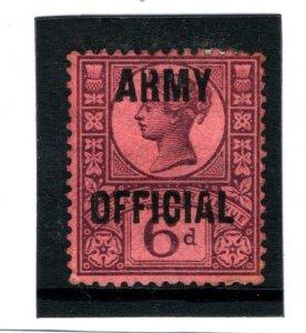 GB 6d *ARMY OFFICIAL* Overprint Circular Flaws SG.O45 Variety c1900 1016