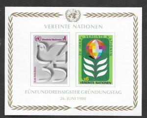 UN-VIENNA # 14 U.N. 35th Anniversary SOUVENIR SHEET (1)  Mint NH