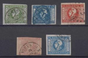 ARGENTINA BUENOS AIRES 1859-62 Sc 9a, 10, 11a, 12b & 13 FULL SETS USED SCV$385