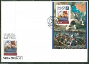 SOLOMON ISLANDS 2014 100th ANN OF START OF WORLD WAR I FOCH S/S FIRST DAY COVER