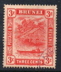 Brunei 1908 3c scarlet (II) wmk MCCA SG 38 used CV £38