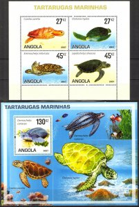 Angola 2007 Sea Turtles sheet + S/S MNH