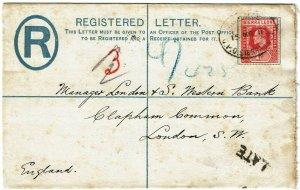 Sierra Leone 1911 GPO cancel on registry envelope to England, LATE handstamp