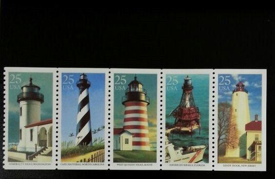 1990 25c Lighthouses, Booklet Pane of 5 Scott 2470-74 Mint F/VF NH