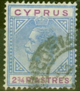 Cyprus 1922 2 3/4pi Blue & Purple SG94a Broken Bottom Left Triangle Fine Used