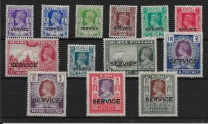 BURMA SGO15/27 1939 OFFICIAL SET MTD MINT