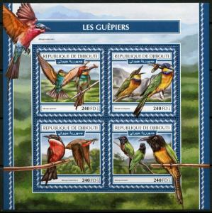 DJIBOUTI 2017  BEE EATERS SHEET MINT NEVER HINGED