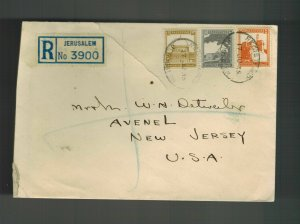 1935 Jerusalem Palestine Cover to USA American School Oriental Research