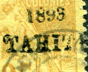 French Tahiti overprint sc#24 25c used 1893 cv$42,500.00 Original or Forgery?