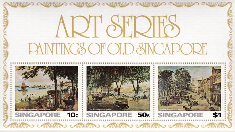 Singapore 1976 Art Series Paintings of Old Singapore Sheet.  VF/NH(**)