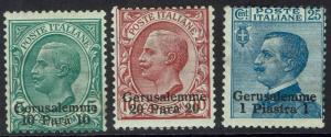 ITALY PO IN JERUSALEM 1909 KING 10PA 20PA AND 1 PI