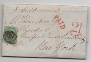 Great Britain Scott #28 Trans-Atlantic Cover - US With PAID 21 CENTS Nov 2, 1857