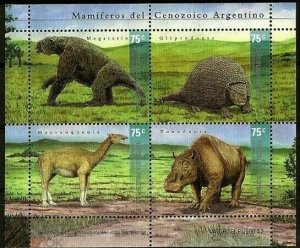 Argentina 2001 prehistoric animals dinosaurs block s/s MNH