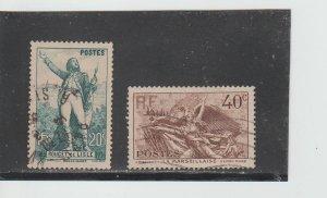 France  Scott#  309-310  Used  (1936 Claude Joseph Roubet de Lisle)