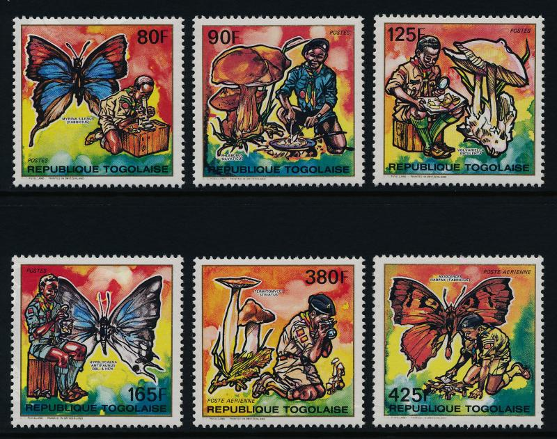 Togo 1553-8 MNH Scouts, Butterfly, Mushroom, Microscope, Camera