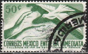 MEXICO E22, 50c 1950 Def 7th Issue Fluor printing BACK.USED. F-VF. (1481)