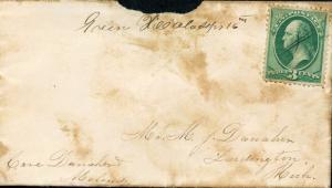 Us Grün Hill, Al 9/16/1870 Manuskript Stempel zu Ludington, mi 3c Rate W/