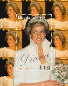 Liberia 1997 TRIBUTE TO DIANA s/s Perforated Mint (NH)