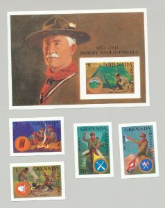 Grenada Grenadines #949-953, 1988 Boy Scouts, Canoes, 4v & 1v s/s imperf proofs