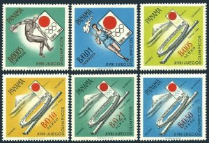 Panama 452-452E,MNH.Mi 714-719. Olympics Tokyo-1964.Discus,Torch beaver,Stadium.