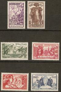 French Sudan 106-11 Ce 93-8 Mint Cmp. VF 1937 SCV $11.20