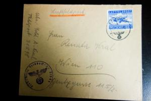 Germany WWII with Swastikas Cancel Tied with Air Mail Cover