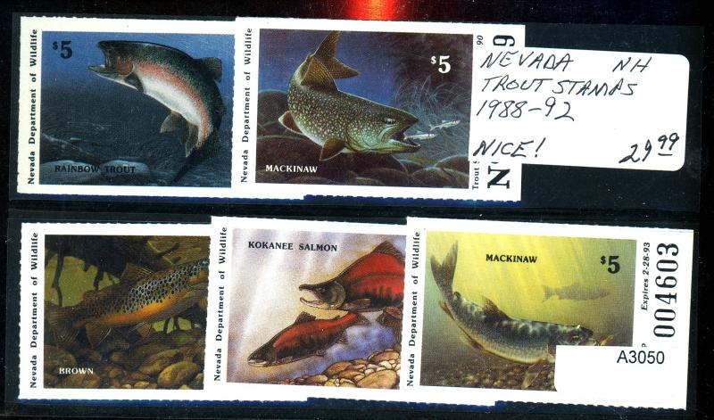 U.S. Nevada 1988-92 MINT Trout Stamps VF