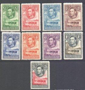Bechuanaland Scott 124/133 - SG118/126, 1938 George VI 1/2d - 2/6d MH*
