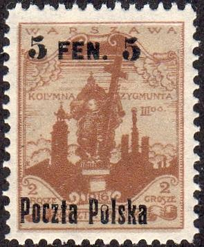 Poland 11 - Mint-NH - 5f on 2gr Statue of Sigismund III (1918) (cv $1.40)
